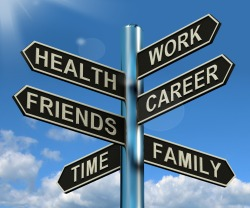 Health Work Career Friends Signpost Showing Life And Lifestyle Balance