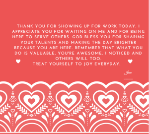 card to say thanks to servers